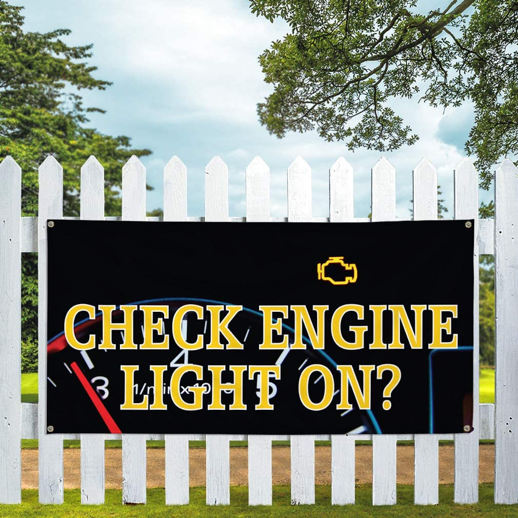 Vinyl Banner Multiple Sizes Check Engine Light on A Advertising Printing Automotive Outdoor Weatherproof Industrial Yard Signs 10 Grommets 60x144Inches