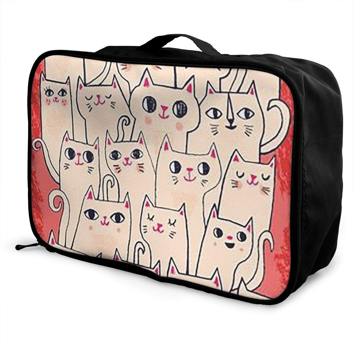 Portable Luggage Duffel Bag White Cat Travel Bags Carry-on In Trolley Handle