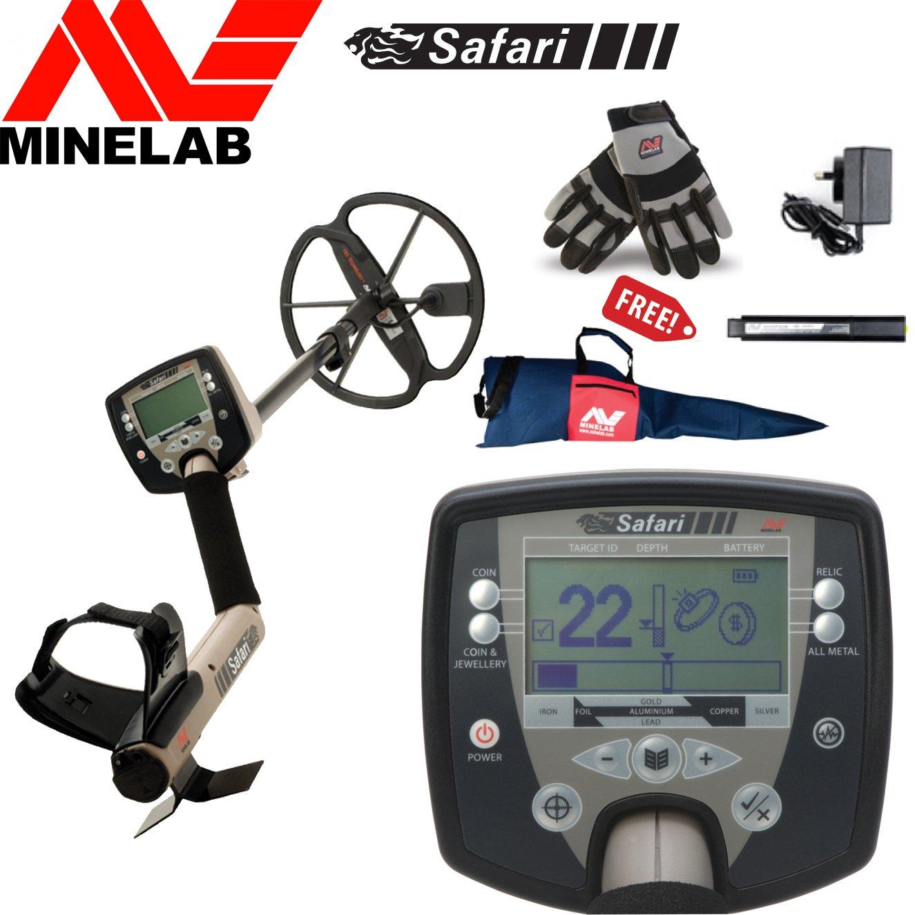 MINELAB Safari - Detector de metal especial paquete incluye minelab guantes, bolsa de transporte y minelab battery pack & Charger: Amazon.es: Jardín