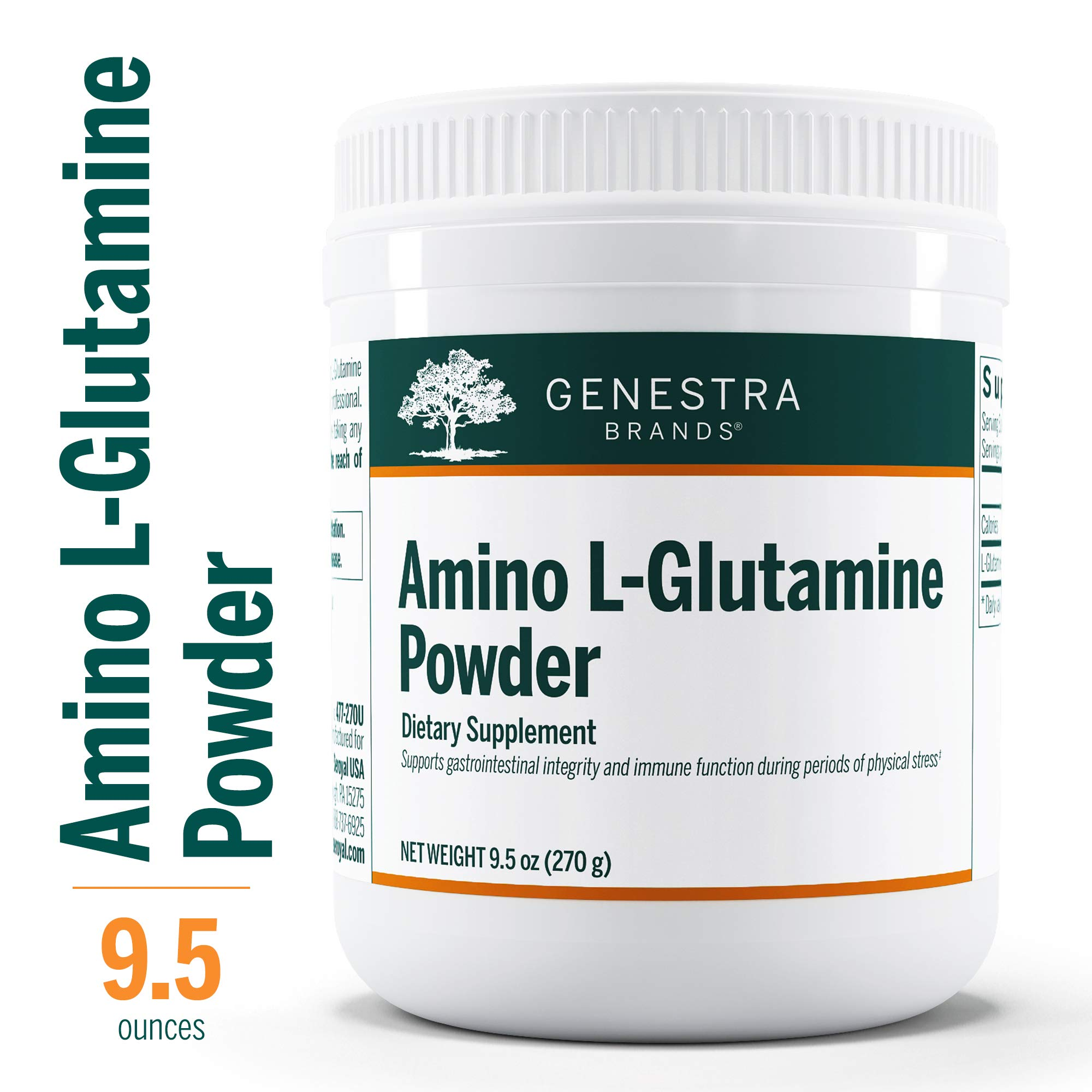 Genestra Brands - Amino L-Glutamine Powder - Amino Acid Supplement for GI and Immune Health* - 9.5 oz. by Genestra Brands