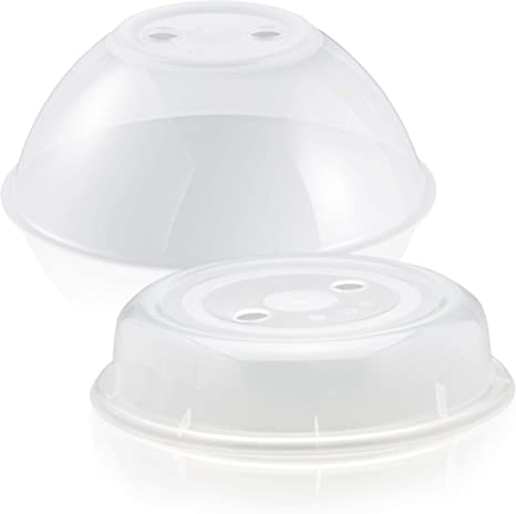 Hausfelder - Cubierta para microondas XL – Juego de 2 unidades grande y pequeño – Apto para lavavajillas y sin BPA, ideal como cubierta protectora contra salpicaduras, tapa para el microondas: Amazon.es