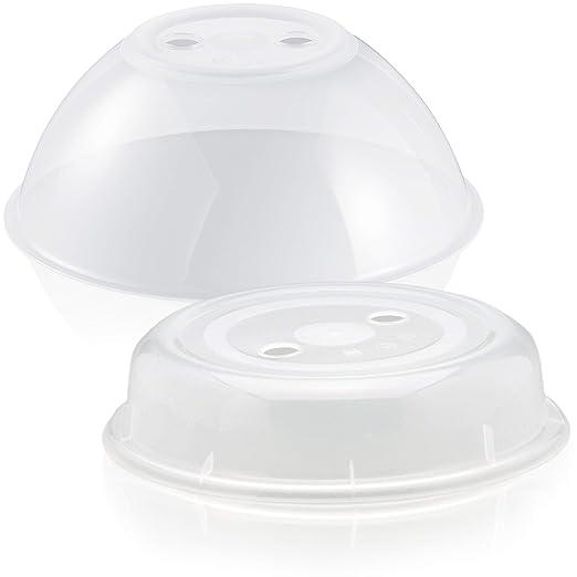 Casa Campos Microondas Cubierta Cubierta – libre de BPA, ideal como para microondas y lavavajillas Tapa protectora Plato Campana para el microondas, 2 ...