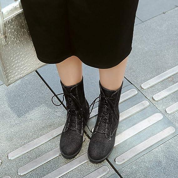 Longra❤ ❤ Botines de Mujer, Moda Color sólido tacón Cuadrado ...