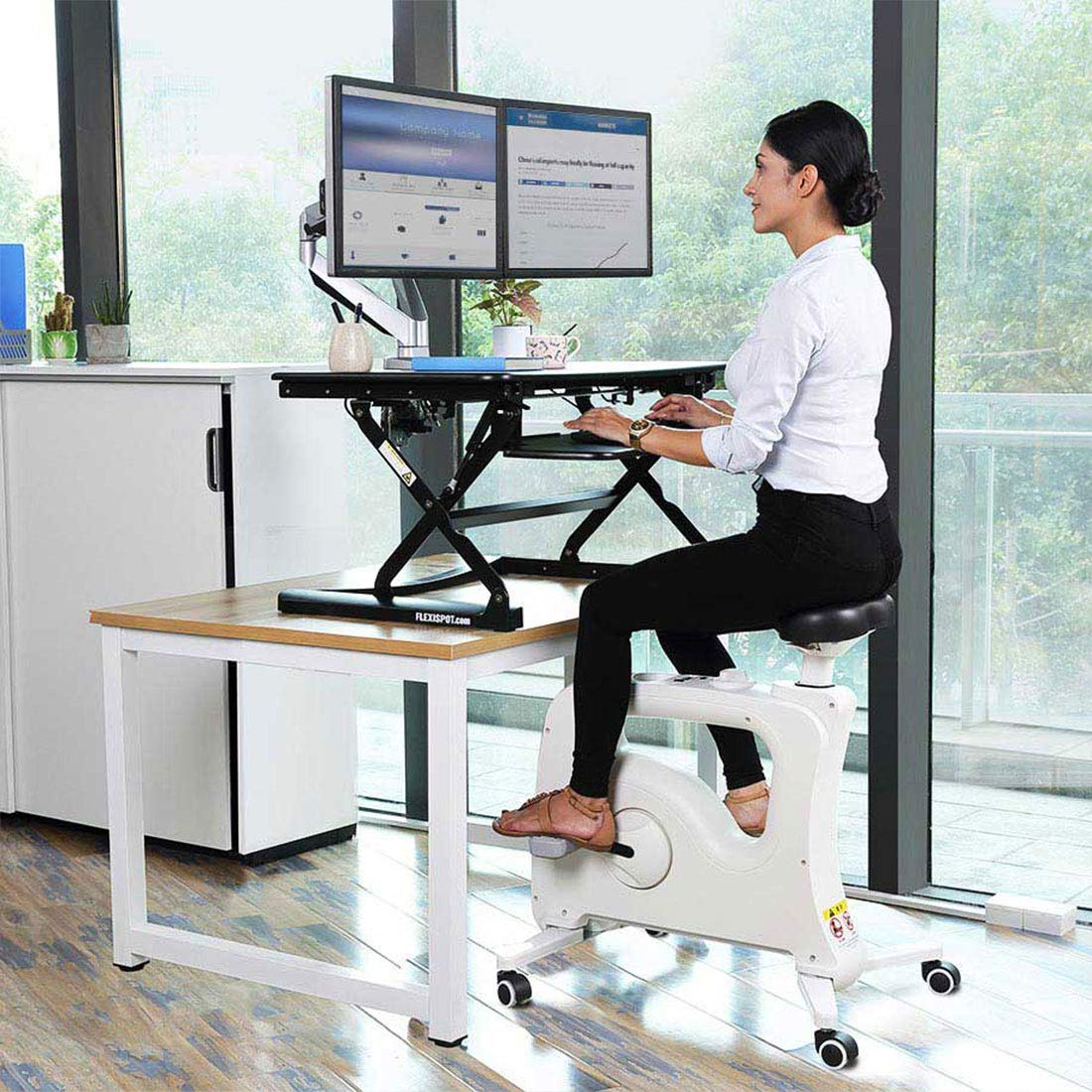 Flexispot Stand up Desk Riser with Under Desk Bike Sit Stand Move Total Solution by FLEXISPOT