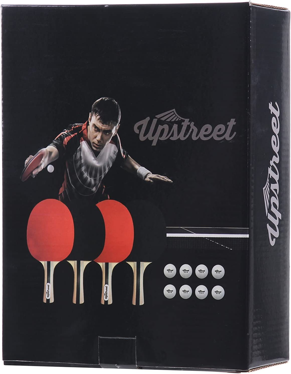 Upstreet The Box Set: 4 Ping Pong Paddles with 3 Star Ping Pong Balls for Table Tennis : Sports & Outdoors