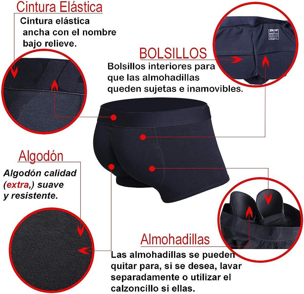 Mens Shapewear ARIUS Calzoncillo Boxer con Relleno Trasero y Relleno Delantero para Aumentar el Volumen y tama/ño de gl/úteos y Dar Volumen y Forma a los atributos Masculinos