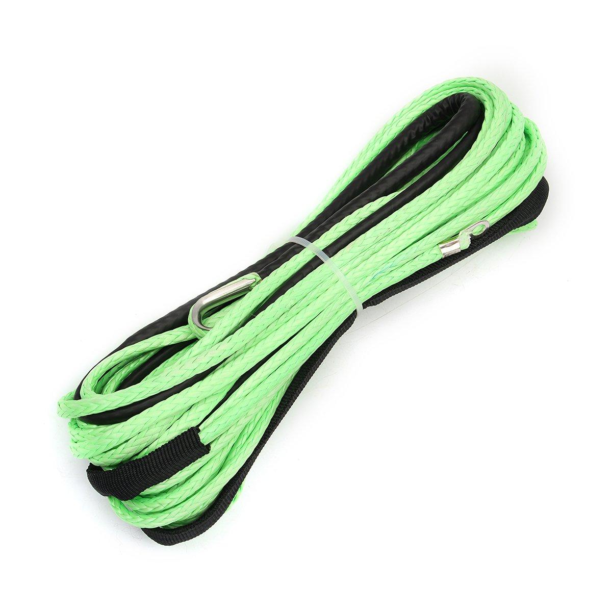 ExcLent Green 3 / 16Inch 50Feet Atv Utv Winch Line Cable Sinté tico De La Cuerda Del Torno Con El Dedal