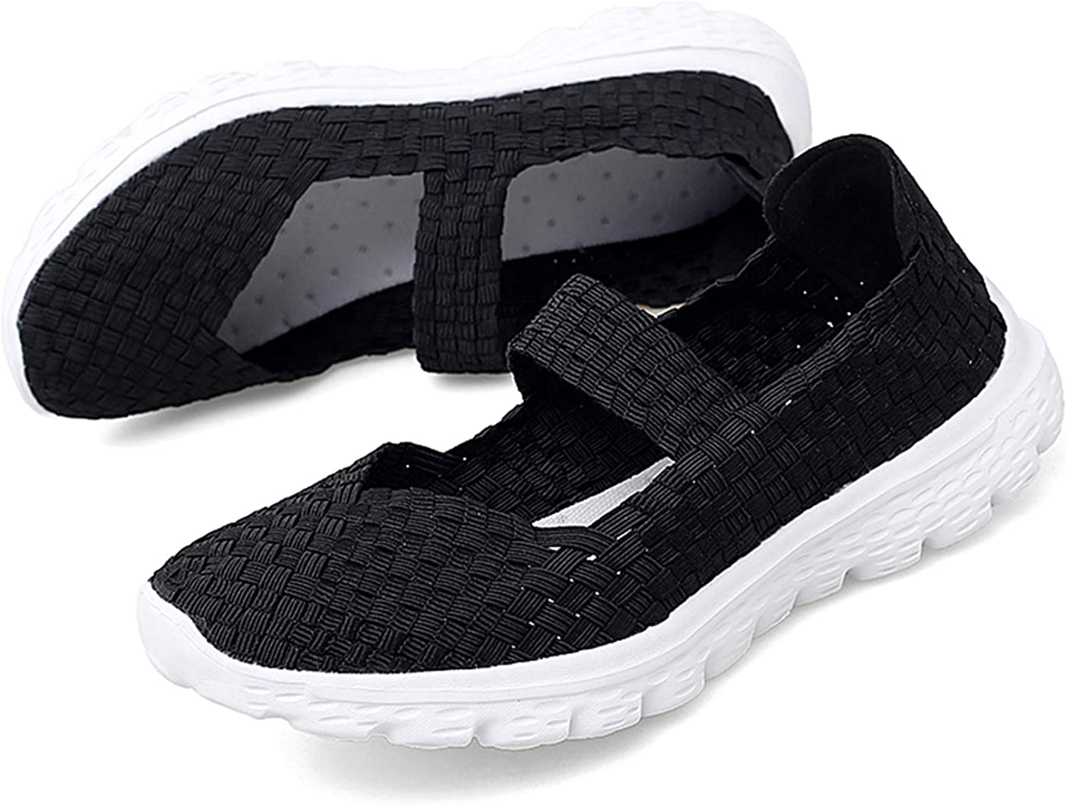 Women Woven Shoes Slip On Handmade Water Shoes Sneakers Comfort Lightweight Walking Elastic Flat Fashion Women's Stretch Loafers Mesh Breathable Black6