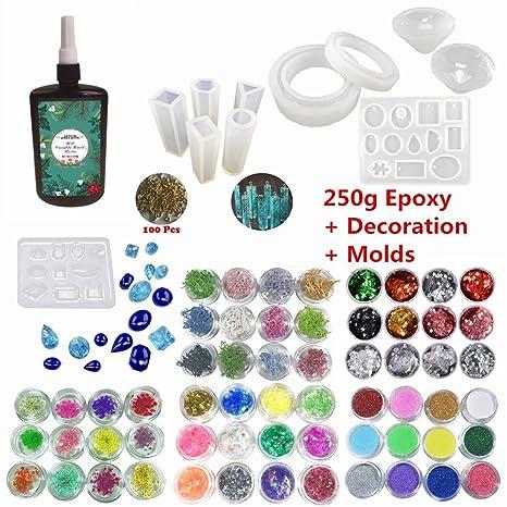 Kit Resina Epoxi UV Transparente para Joyas 250g Epoxi Cristal + 11 Moldes (31 Formas