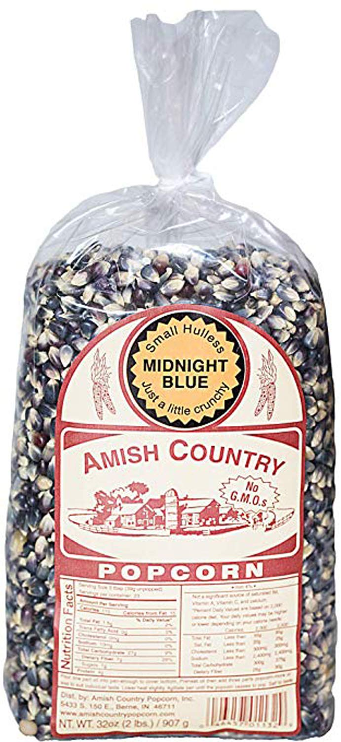 Amish Country Popcorn - Midnight Blue (2 Pound Bag) - Old Fashioned, Non GMO, and Gluten Free with Recipe Guide by Amish Country Popcorn