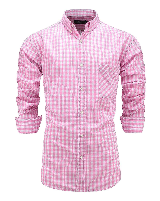 Emiqude Camisa Casual - Button Down - con Botones - Manga Larga - para Hombre