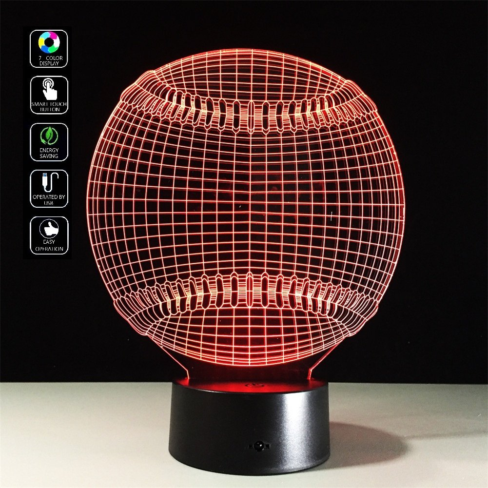 Deerbird 3D Baseball Shape Visual Illusion USB Battery Powered 7 Color Change Acrylic LED Touch Table Lamp Night Light for Baby Kids Toy Gift