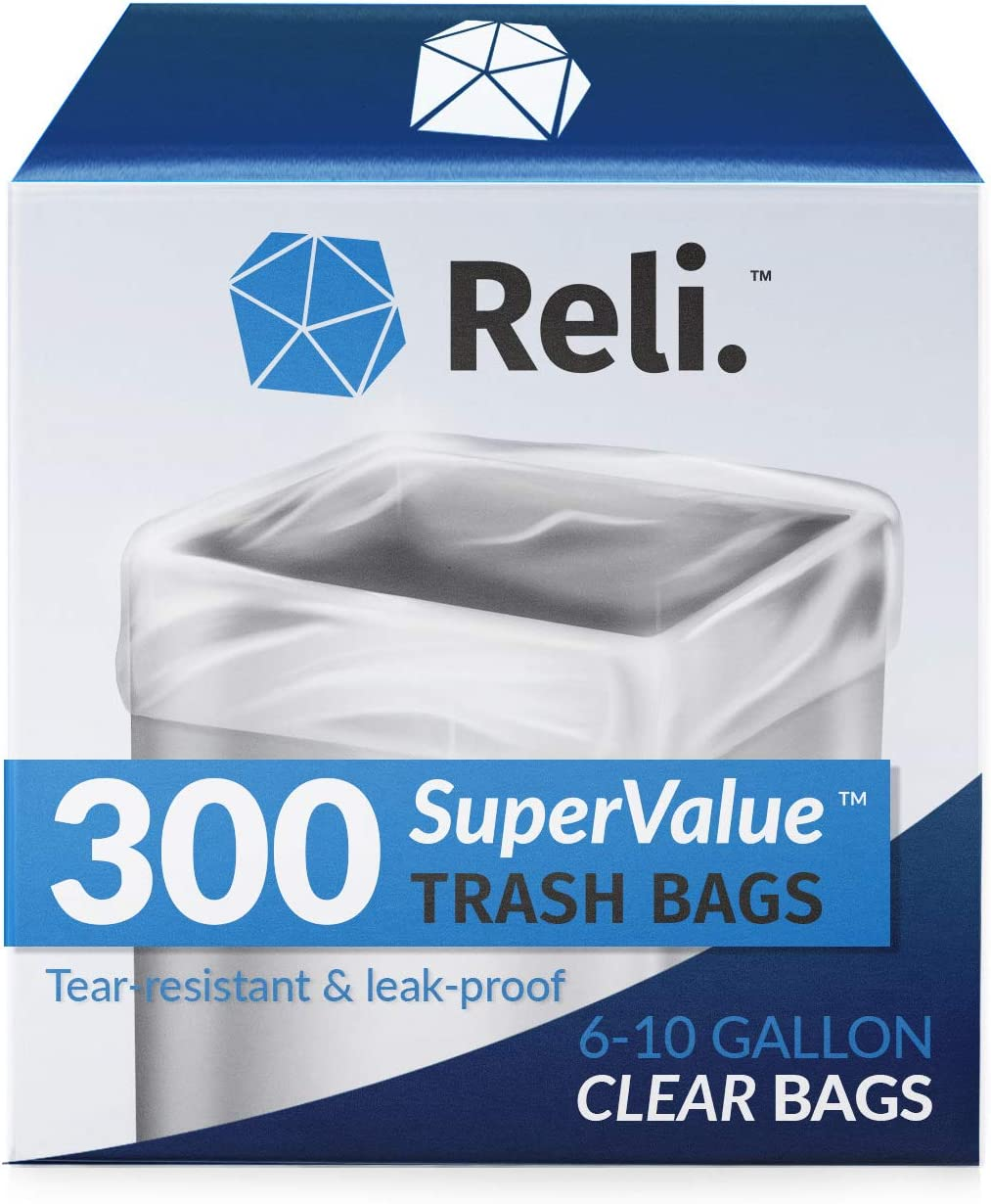 Reli. 6-10 Gallon Trash Bags (300 Count) Clear Garbage Bags 8 Gallon, 9 Gallon Compatible - Office Trash Can Liners/Garbage Bag (6 Gal - 10 Gal Capacity), Clear