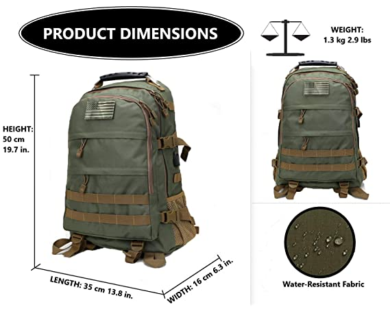 6d2edd124b9a Amazon.com   Military Tactical Backpack for Men Outdoor Bow Hunting Backpack  Travel Laptop Bag Assault Pack Army Molle Bug Out Rucksack