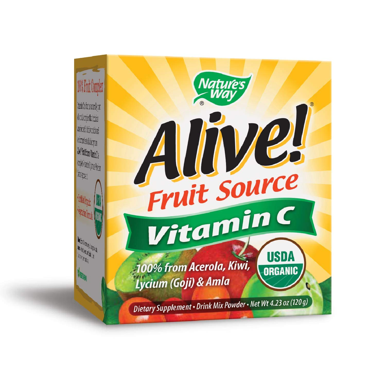 Nature's Way Alive! Vitamin C Powder, USDA Organic, 100% from Acerola, Kiwi, Lycium (Goji) Amla, Vegetarian, 4.23 oz.