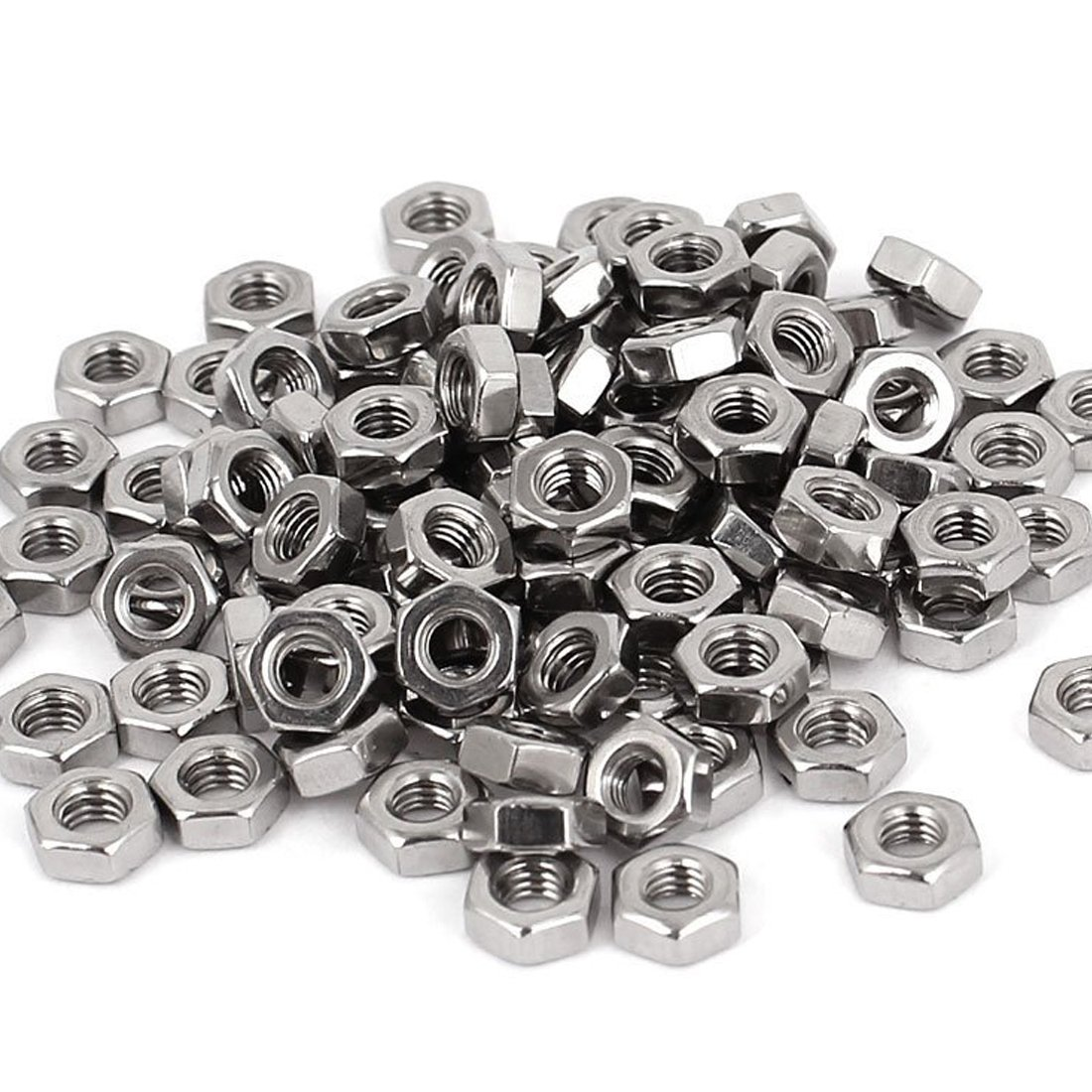 R Tuerca hexagonal 100pzs M3 3mm Sujetador tuerca de metal hexagonal de rosca hembra Tono de plata SODIAL