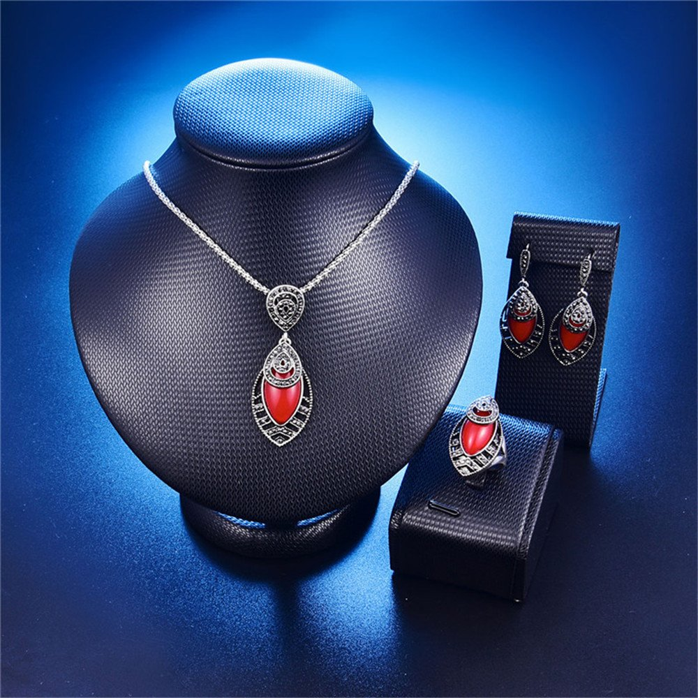 LUYUAN JEWELRY Vintage Women Oval Multi Colors Amber Pendant Jewelry Set, Fashion Wedding Bridal Jewelry Set of 3 - Red+Ring#8
