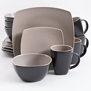 Gibson Elite Soho Lounge Matte Glaze 16 Piece Dinnerware Set in Taupe; Includes 4 Dinner Plates; 4 Dessert Plates, 4 Bowls and 4 Mugs