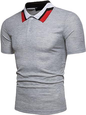 Polo para Hombre de Manga Corta Algodón Camisa Polo de Tejido Piqué Gris M: Amazon.es: Ropa y accesorios