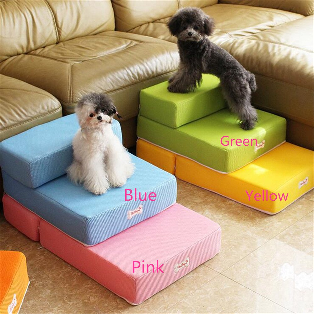 Mltao L26.3 x W15.3 x H7.8 2 Levels Easy Step dog stairs Removable Fabric Cover