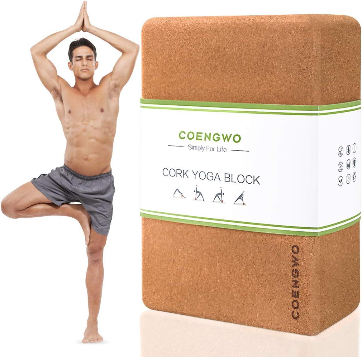 Amazon Com Coengwo Cork Yoga Block Yoga Brick Cork Yoga Exercise Block Set Non Slip Eco Yoga Cork Block To Support And Deepen Poses For Yoga Pilates Meditation 1 Block 9 X