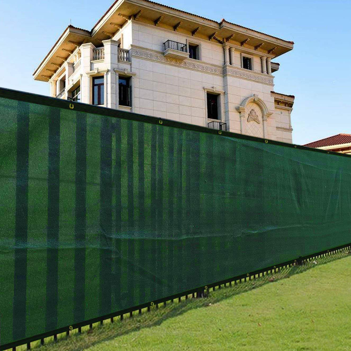 Gharpbik Fence Privacy Screen 6x50ft for Chain Link Fence Fabric Screening with Brass Grommets Outdoor 6ft Garden Patio Porch Construction Site 140gsm Shade Tarp Mesh UV Resistant Green