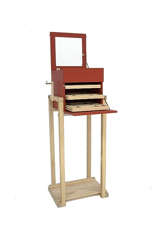 ARMARIO JOYERO CON ESPEJO (Rojo) - Mueble joyero moderno galán de noche madera de pino