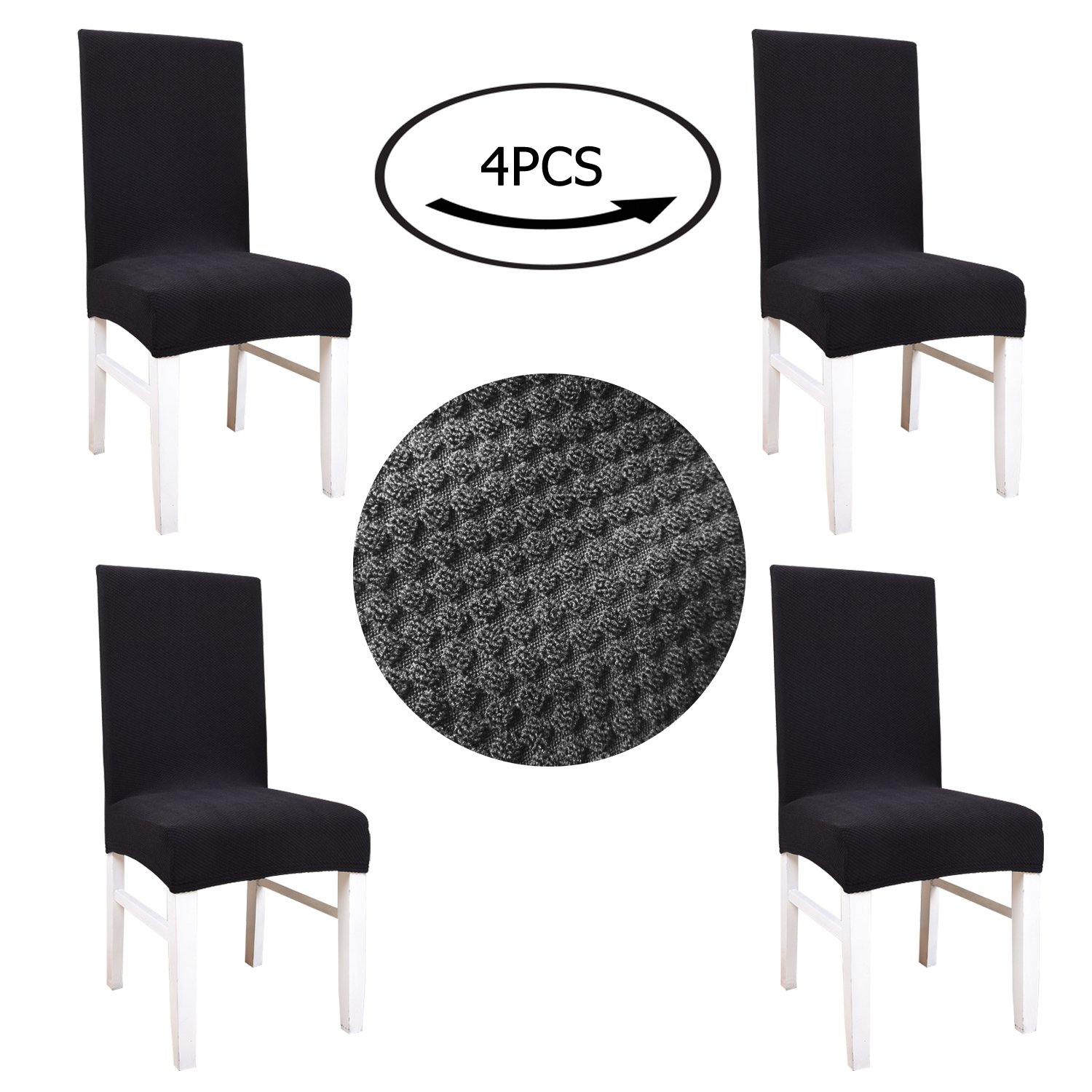 Kate Princess Black Gold Fortune Knit Jacquard Spandex breathable Fabric Stretch Dining Room Chair Slipcovers Set of 4