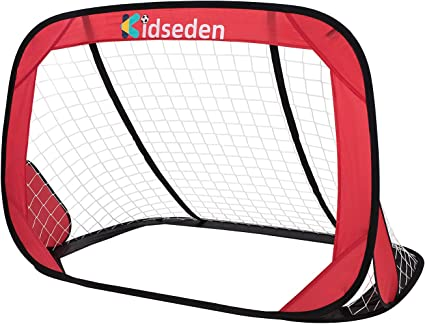 N-A 4FT Foldable Children Pop-Up Play Goal for Outdoors Portable Square Soccer Goal with Carrying Bag Practice Training Sports Gift Idea for Kids