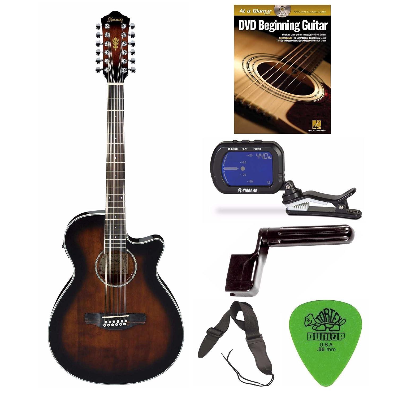 Ibanez aeg1812ii AEG guitarra electroacústica de 12 (amarillo) + libre DVD, fotos, correa, carrete y sintonizador: Amazon.es: Instrumentos musicales