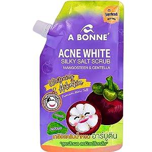 ACNE WHITE SILKY SALT SCRUB MANGOSTEEN & CENTELLA: Moisturize & Rejuvenate Dull Dry Skin Bright Smooth Soft Skin, Vitamin Exfoliates Skin Reduces Fine Lines Stretch Marks, Acne & Cellulite 12.34 Oz