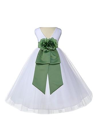 c64d7ac05 ekidsbridal White V-Neck Tulle Flower Girl Dress Wedding Tulle Dresses  Ballroom Gown 108 2