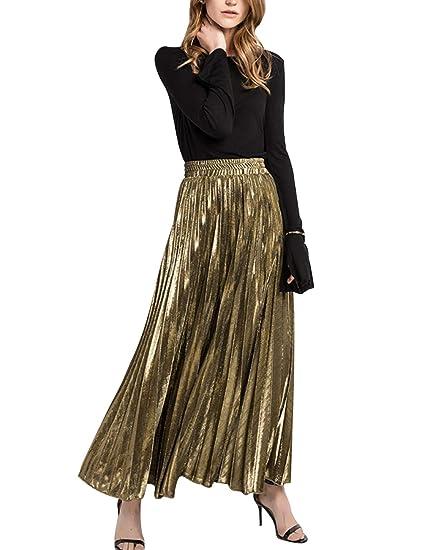 4a418652e newrong Women's Metallic Shiny Shimmer Pleated Maxi Skirts Gold Aisa S(CA  ...