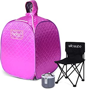 WILLOWYBE Portable Personal Steam Sauna Home Spa, an Indoor Steam Sauna for Lose Weight, Detoxify and Therapeutic (Purple)