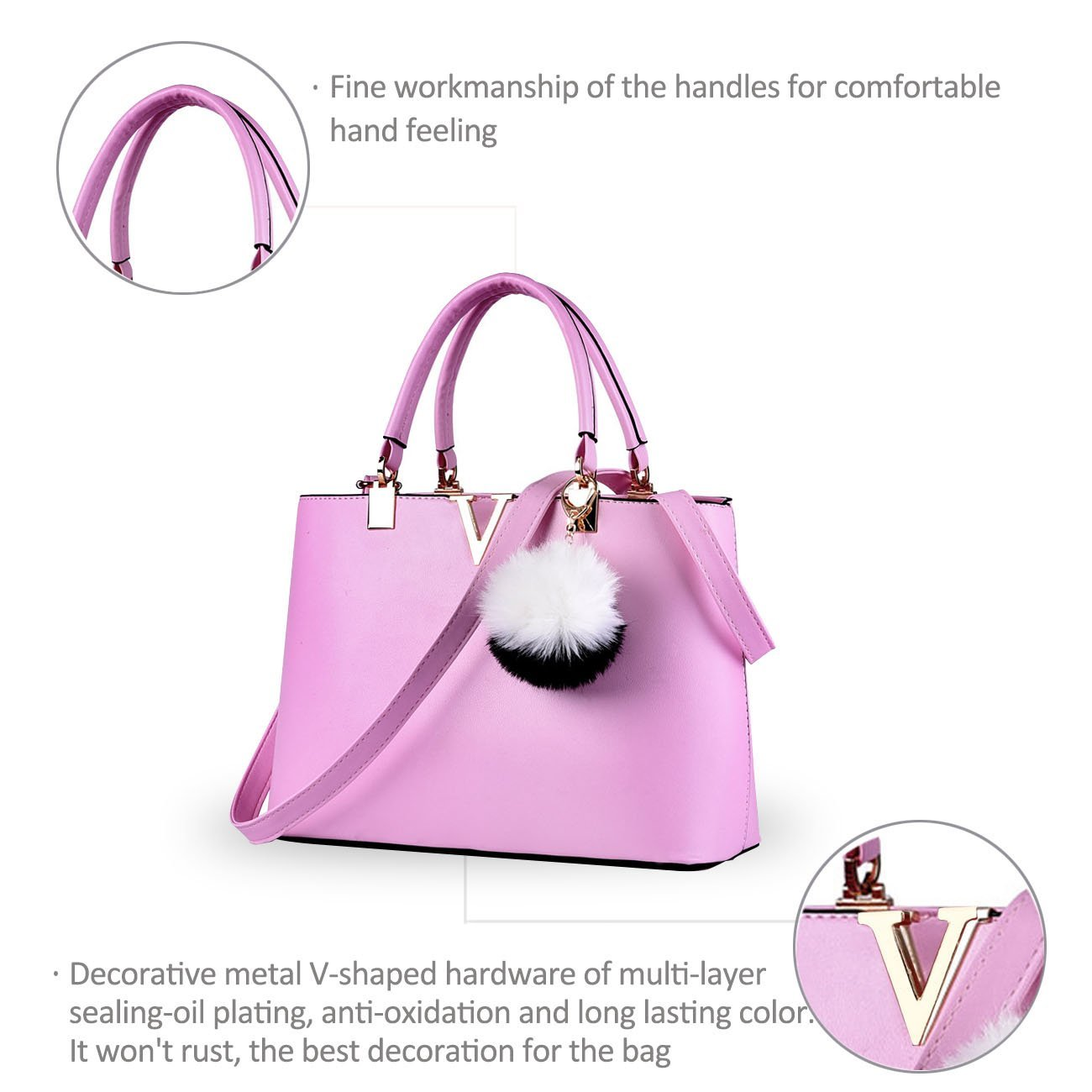 NICOLE & DORIS For Women's Casual Shoulder Cross Body Bags Spring 2017 Spring New Trends Minimal Fashion Handbags (Purple) by NICOLE & DORIS (Image #7)