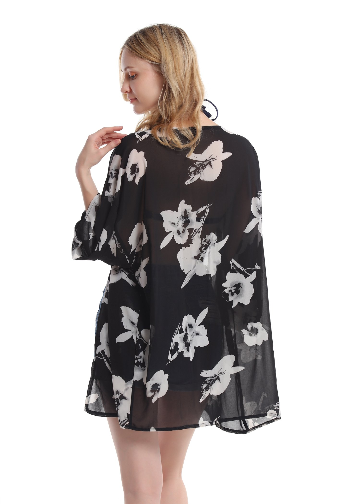 Women's Floral Chiffon Kimono Top - Ladies Sheer Flower 3/4 Sleeves Beach Cover Up for Bikini,Beachwear and Cardigan(Black&White,XL) by soul young (Image #2)