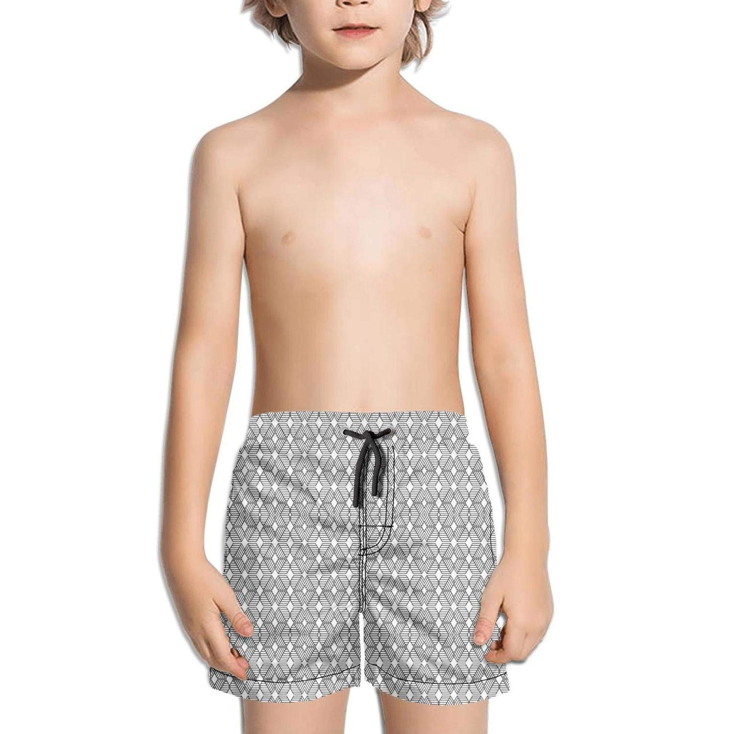 Stylish Geometric Graphic Black and White Fashion Swim Trunks BingGuiC Boys Quick Dry Shorts