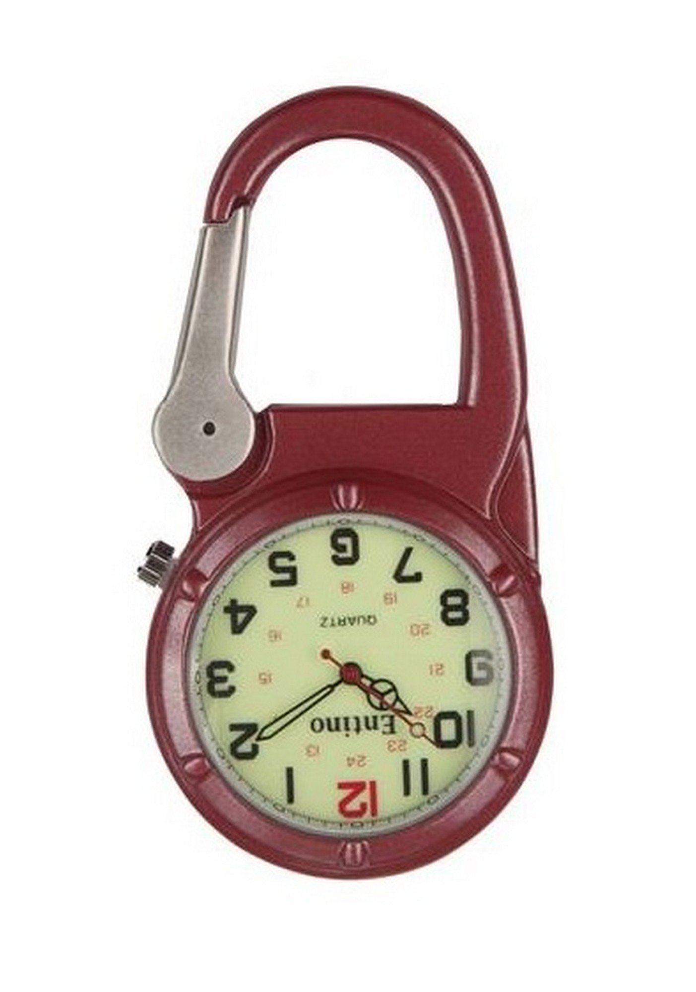 Entino Brand Silver Clip on Red Carabiner Luminous Face Sturdy FOB Watch Doctors Nurses Paramedics Chefs Military Style