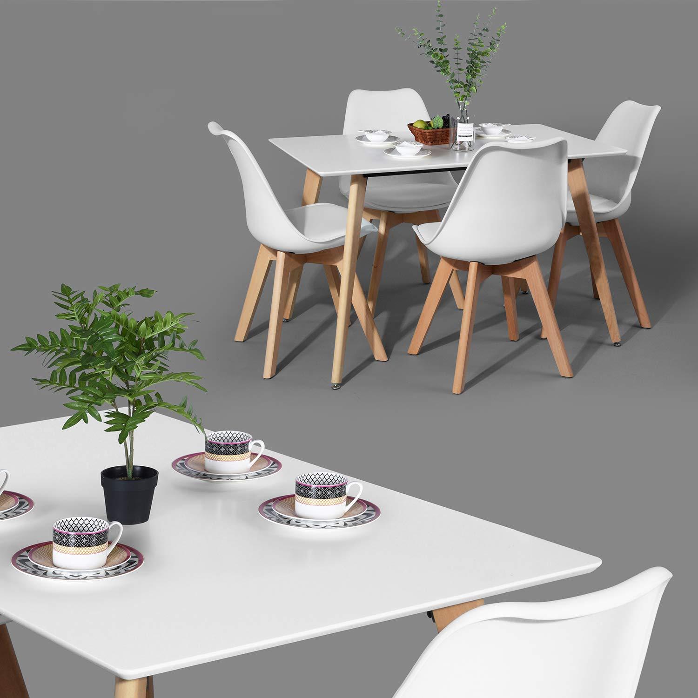 FurnitureR Dining Table Rectangular Top Dining Desk 44'' x 28'' Leisure Cofffee Table 2-4 People Wood Beech White Kitchen Desk by FurnitureR (Image #3)