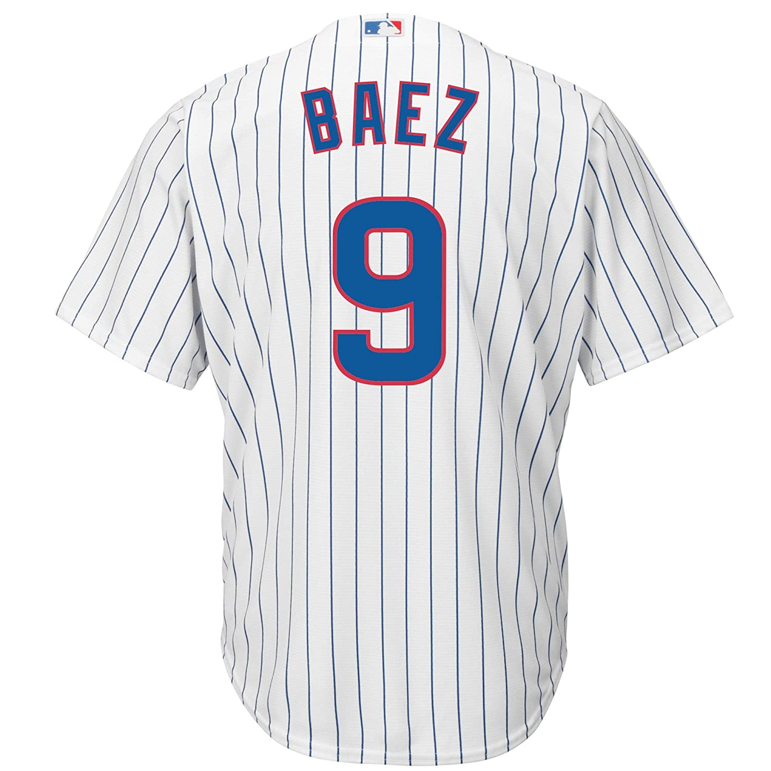 f3d5a7e958f Amazon.com  Outerstuff Javier Baez Chicago Cubs  9 White Youth Cool Base  Home Replica Jersey  Clothing