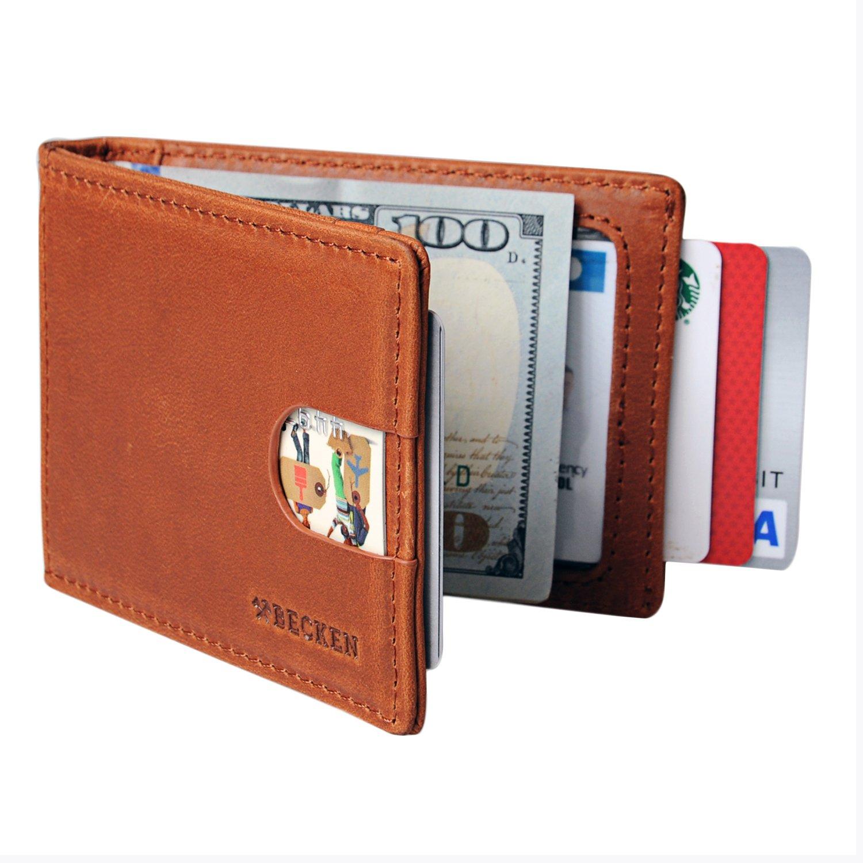 Becken Minimalist Wallet - Leather, RIFD Blocking, Bifold, Slim Front Pocket For Men With Money Clip (Saddle Tan)