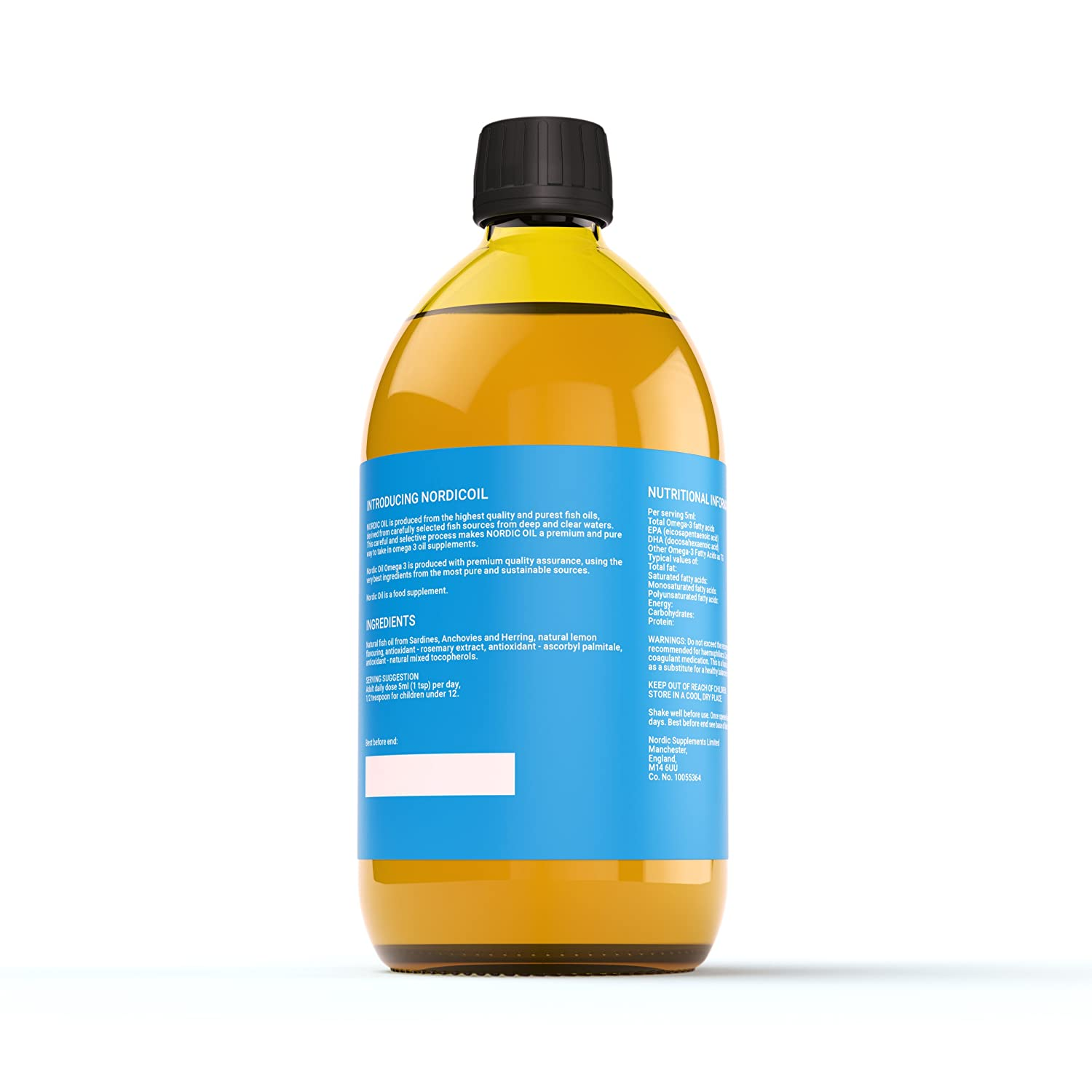 Nordic Oil High Strength 500ml Omega 3 Fish Oil  Lemon Flavoured and 3rd  Party Tested