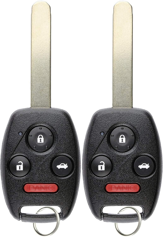 KeylessOption Keyless Entry Remote Fob Uncut Ignition Car Key for 2006-2011 Honda Civic EX Si N5F-S0084A Pack of 2