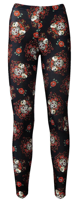Gothic Floral Pattern Sugar Skulls Roses Printed Leggings