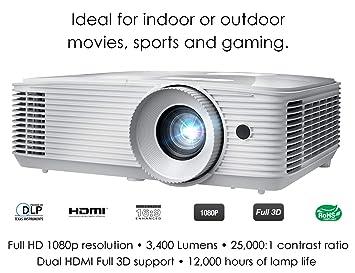 Optoma HD27E Video - Proyector (3200 lúmenes ANSI, DLP ...