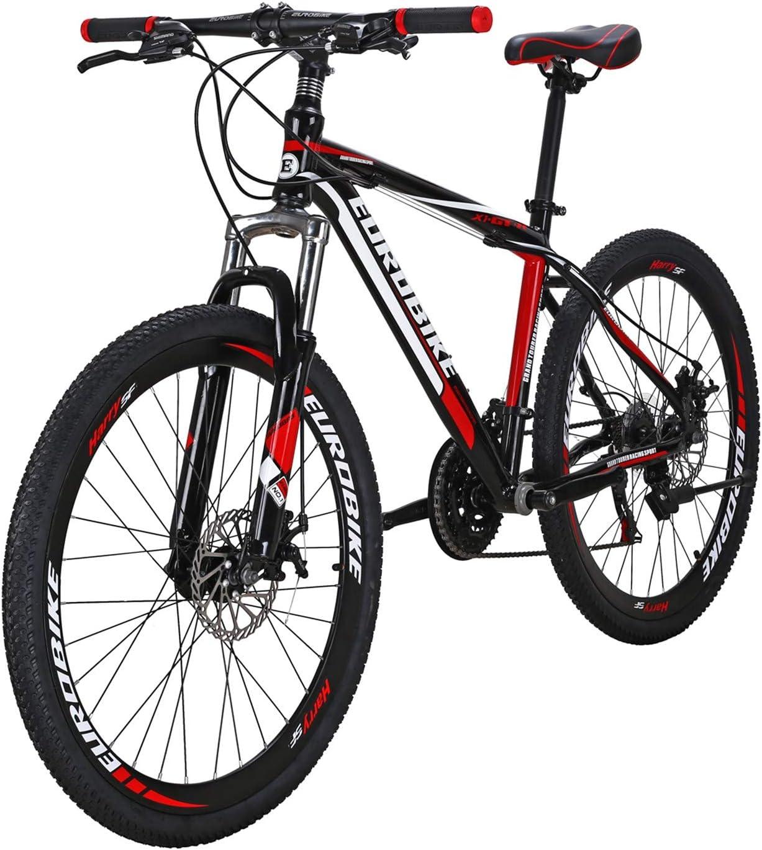 マウンテンバイク EUROBIKE GTR 26インチ フレーム自転車 アルミ合金 フレーム 21速シフト 左3速 右7速シフト 自転車 ブラックレッド