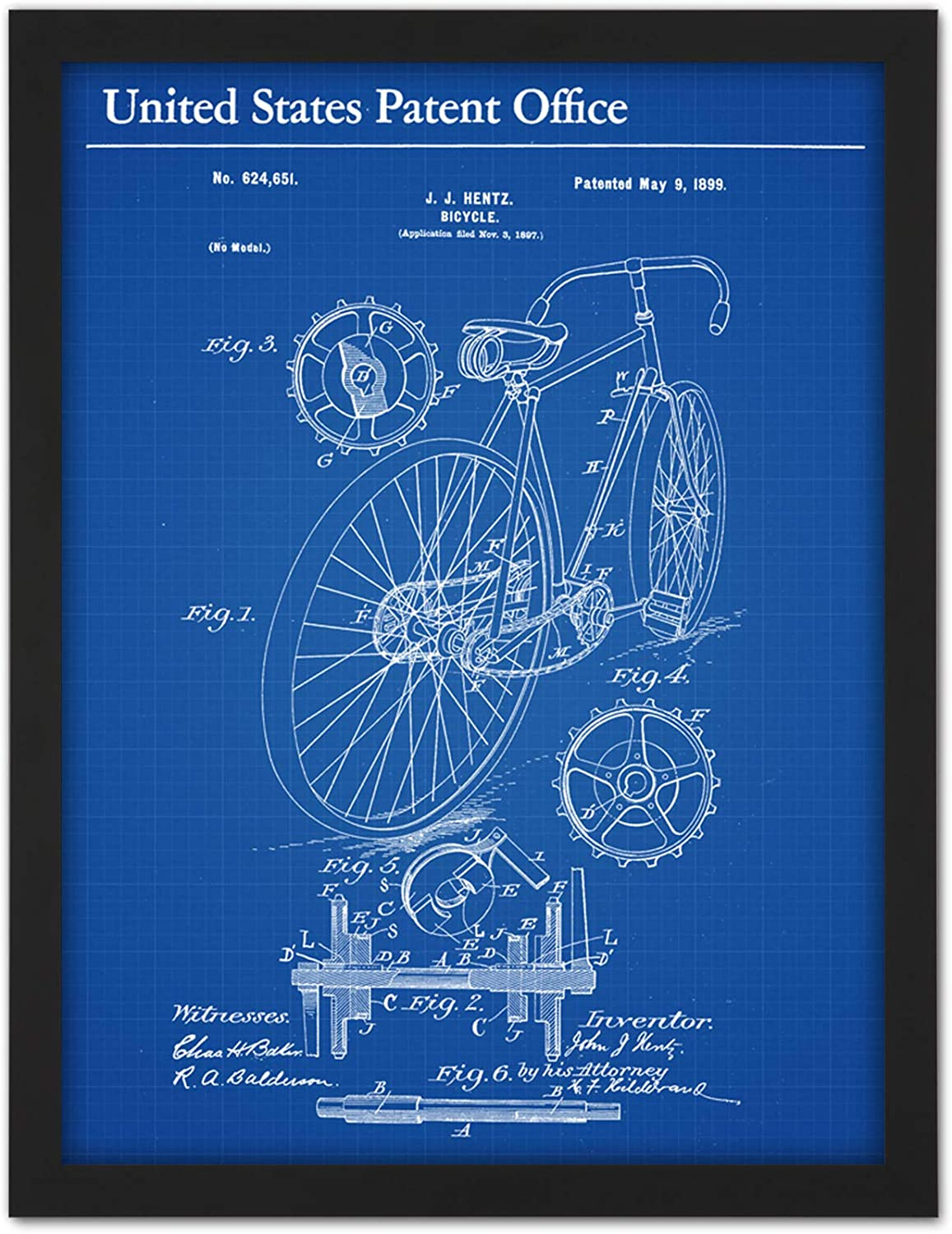Hentz Bicycle Bike Gears Cogs 1899 Patent Plan Artwork Framed Wall ...