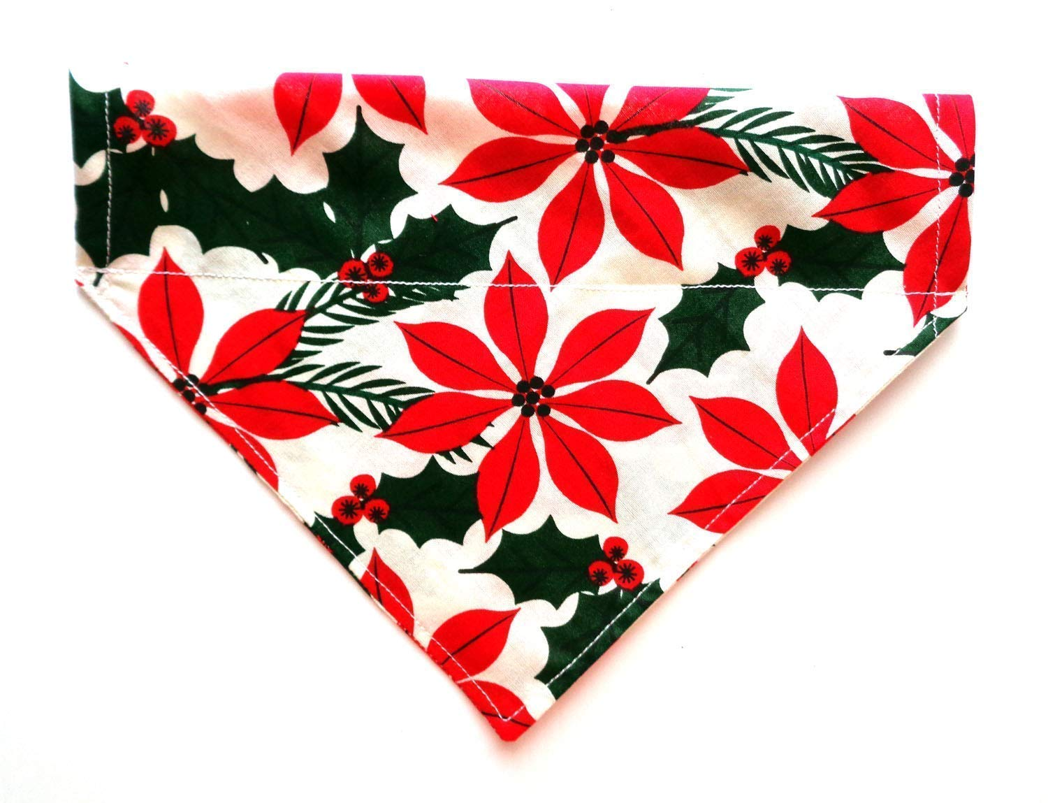 Big n Bright Christmas Poinsettia Flower Reversible Over the Collar Thread Through No-Tie Dog Bandanna, Festive Petwear Neckwear Holiday Accessories