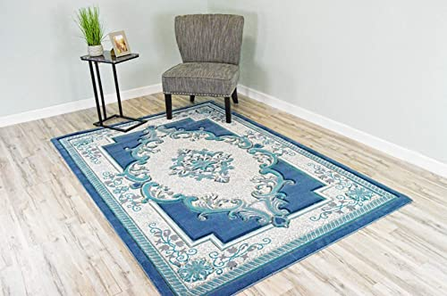 PlanetRugs Glamour Design 206 3D Hand Carved Traditional Rug Oriental Floral 2 6 x4 Blue Grey