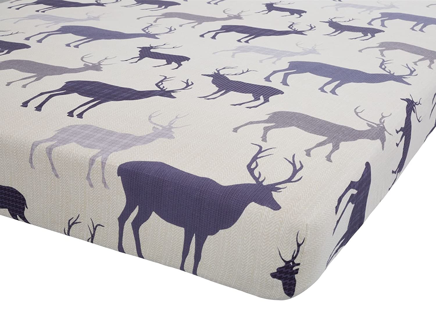 Catherine Lansfield Grampian Stag Double Fitted Sheet - Mulberry Turner Bianca BDB3-6436-WDFD-Mulberry